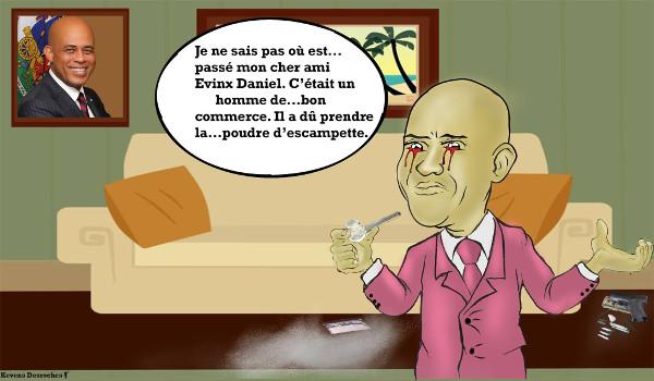 caricature -martelly jovenel evinx daniel touthaiti