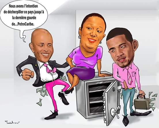 caricature martelly sophia olivier pillage petro caraibes