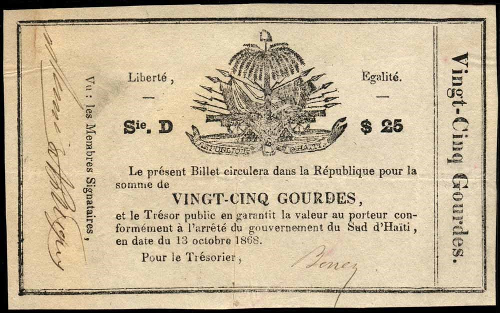 papier monnaie 2e etat meridional 1868 xaragua